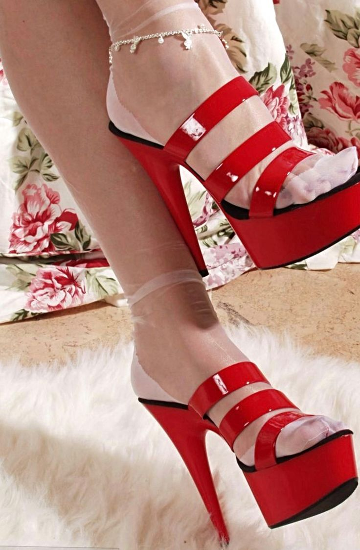 Pretty white reinforced heel toe RHT nylons in sexy red Mule platforms.