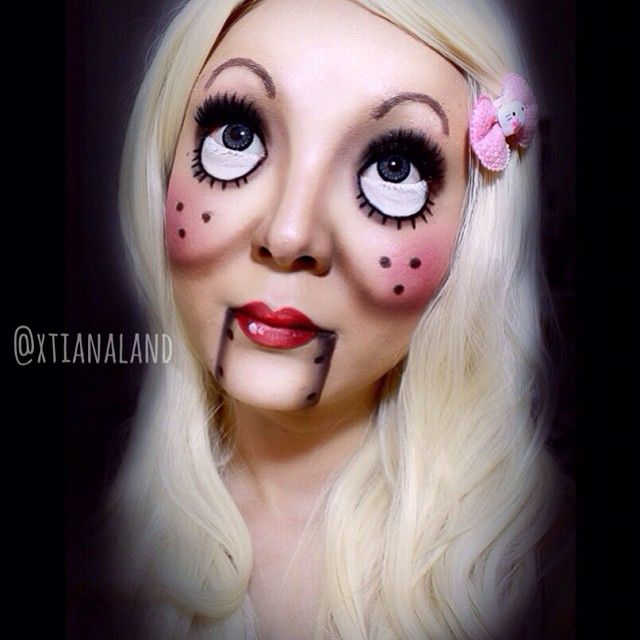 """sweet"" version of the #ventriloquist doll makeup   #Halloween #makeup"