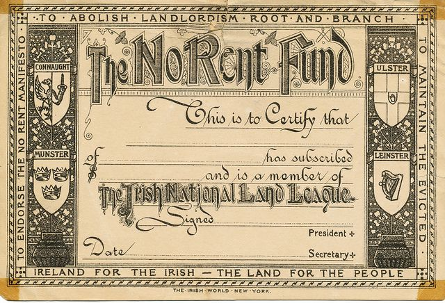 Irish National Land League - Certificate (19th century)