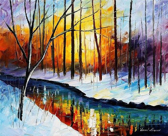 Winter Sun 2 Palette Knife Snow Landscape Oil by AfremovArtStudio