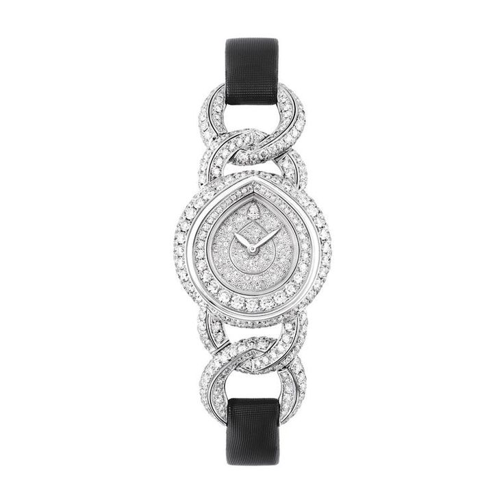 This Joséphine Rondes de Nuit jewellery watch for women from Chaumet is made of white gold and set with brilliant-cut diamonds, and the dial is entirely snow-set with diamonds. Discover the quintessentially French jewellery collection by Chaumet re-inventing their classic shape the pear, in many different diamond forms. http://www.thejewelleryeditor.com/jewellery/article/chaumet-josephine-rondes-de-nuit-diamond-jewellery/ #jewelry