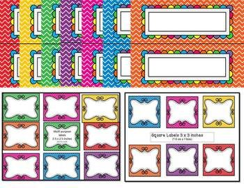 EDITABLE Classroom Decor Chevron Themed - Very bright and cheerful!  150 Pages of labels, bunting and name plates.