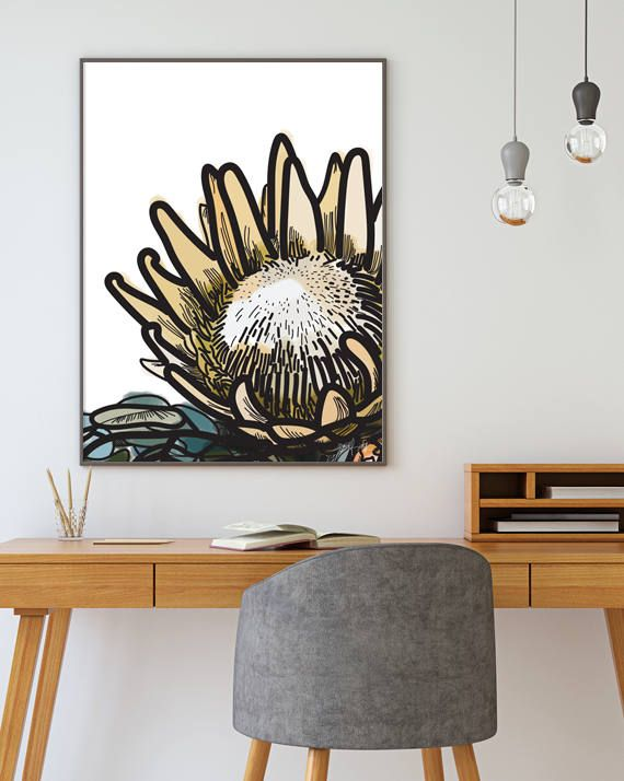 Protea Home Decor Botanical Art Protea Flower Art Instant Download  Printable Art Floral Art Wall Art Large Digital Download Art Large Art