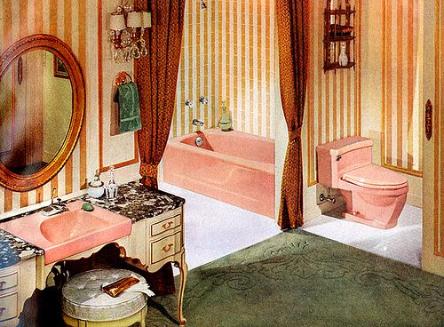 mid-century french provincial bathroom -- pink toilet, sink and tub