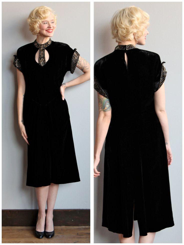 1940s Dress Ava Velvet Dress Vintage 40s Dress By