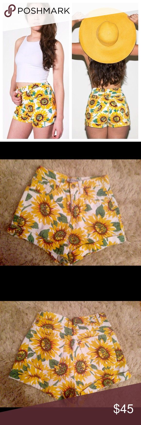 American Apparel Sunflower Shorts Only worn once, AA sunflower shorts. Size 23. American Apparel Shorts Jean Shorts