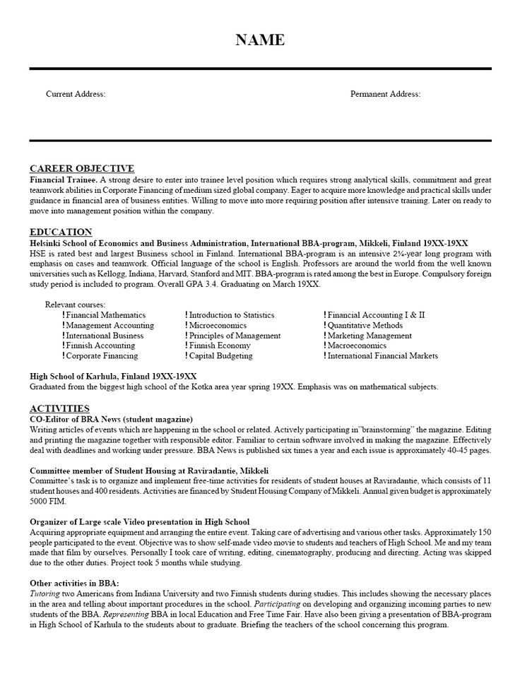 resume template for education