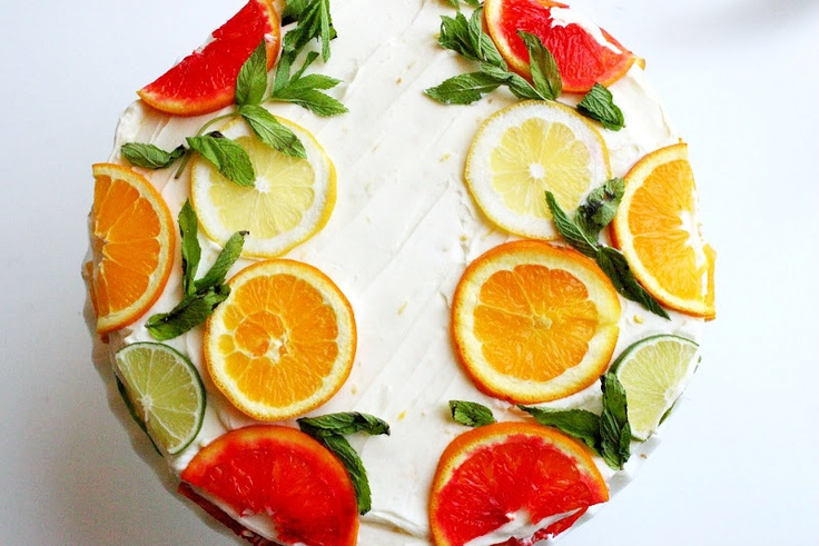 Citrus Cake with Lemon Curd Filling and Orange Lemon Icing.