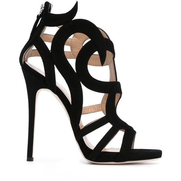 Giuseppe Zanotti Design swirl caged heel sandals (€1.460) ❤ liked on Polyvore featuring shoes, sandals, black, black leather sandals, zip back sandals, black stiletto sandals, leather shoes and high heel stilettos