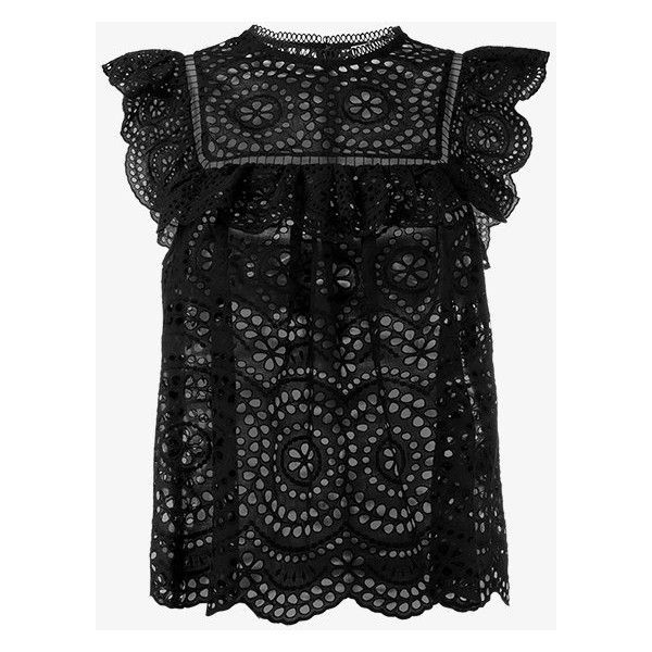 Zimmermann Sleeveless Lace Blouse ($465) ❤ liked on Polyvore featuring tops, blouses, black, zimmermann, zimmermann tops, lace sleeveless top, lacy blouses and lacy tops
