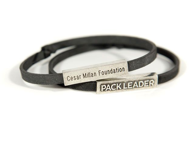 Cesar Millan Foundation Pack Leader Bracelet Pack Leader bracelets are eco-friendly, made in the USA, and come in two styles and six colors. Choose from Recycled Rubber Tire* (black only) Wear your bracelet proudly knowing that 100% of the proceeds will go directly to benefit the Cesar Millan Foundation