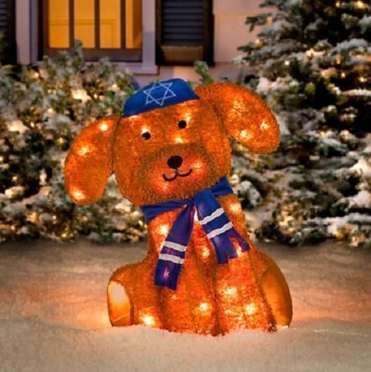 Outdoor Lighted Pre Lit JEWISH HANUKKAH PUPPY DOG Holiday Yard Decoration