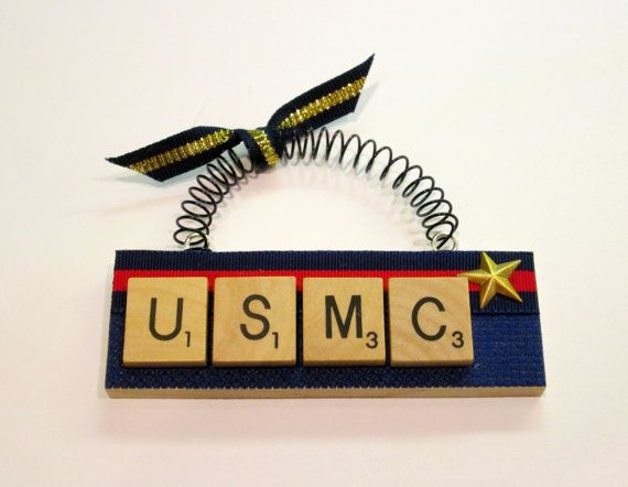 USMC Marine Corp Scrabble Tile Ornament by ScrabbleTileOrnament