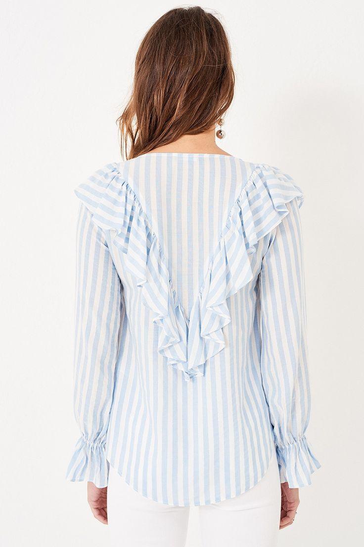 Mavi Çizgili Yaka Detaylı Kadın Bluz TRENDYOLMİLLA | Trendyol