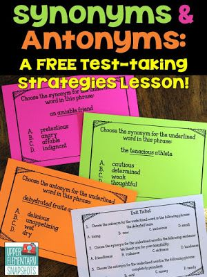 Worksheets Antonyms Words Examples 17 best ideas about antonyms for words on pinterest figurative teach your students three important test strategies identifying synonyms and standardized tests