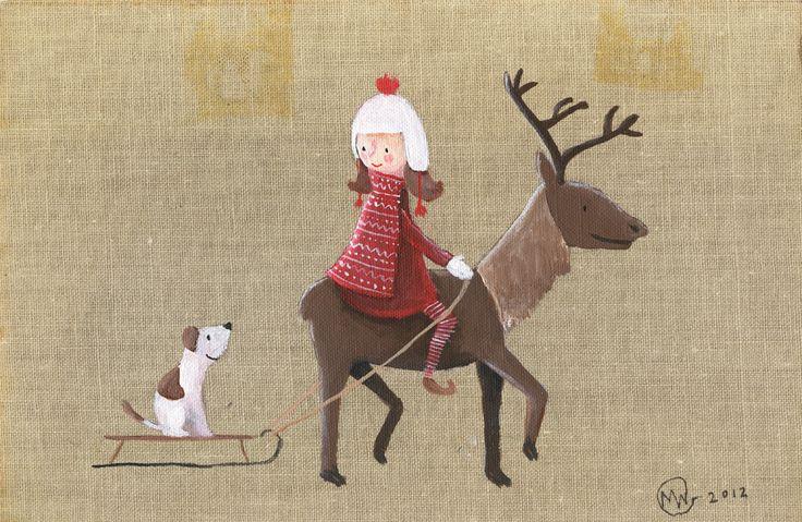 Girl on reindeer, by Marloes de Vries