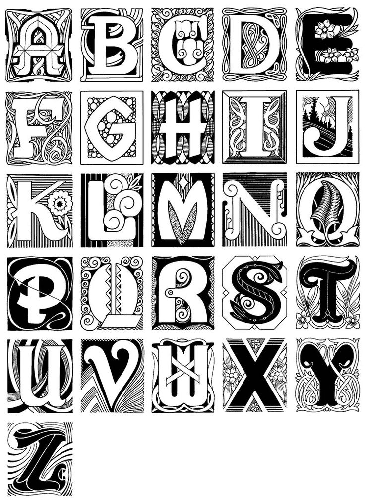 Vintage Decorative Initials Capital Letters Black and