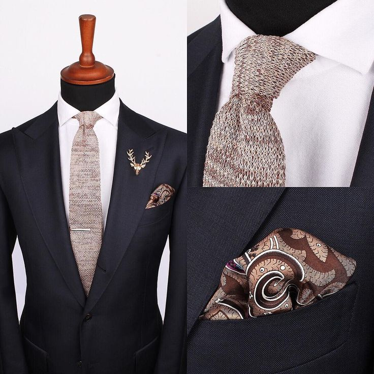 A creative accessories combo with the Golden deer pin as the finishing touch. www.Grandfrank.com