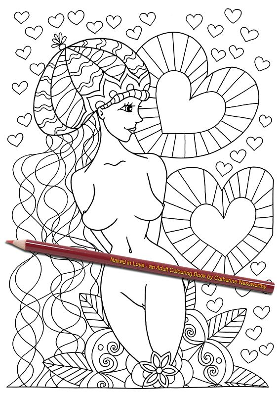 a beautiful nude belle poses with hearts and mandalas and an epic wool beanie in this easy and fun adult colouring page from naked in love an adult - Nude Coloring Book