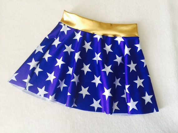 Girls Skirt Wonder Woman costume royal blue and white stars 6 9 12 18 24 months 2T 3T 4T 5T 5 6 7 8 9 10 11 12 Gold Baby Toddler Kids waist