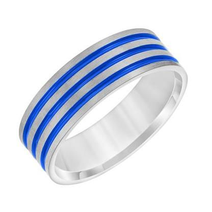 7 mm 14k white gold handcrafted in us blue sphinx inlayswedding bandswedding - Exotic Wedding Rings