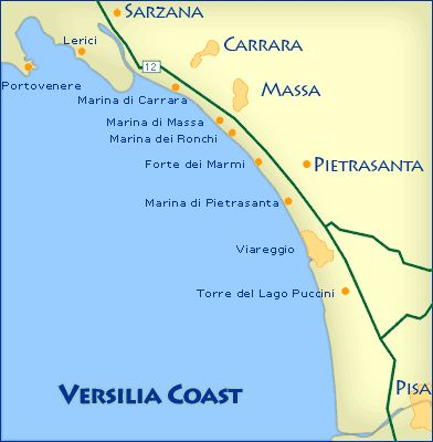 Versilia - Tuscany Coast Beach Country - Map and Information Mediterranean Beaches, Lakes, and Puccini--