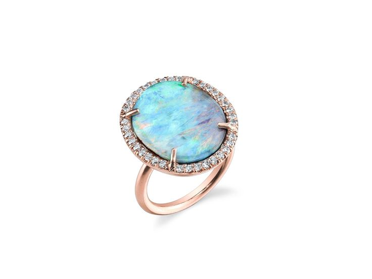 Irene Neuwirth: Oval Boulder Opal Ring with Diamonds - Rose Gold - YLANG|23