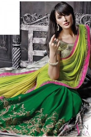 Green and Lime Faux Georgette Party Wear Saree   http://www.fashionfemina.com/catalogs/magnificent-designer-sarees-online/  #sarees, #designer sarees, Wedding sarees, Online shopping, #latest collection #indian sarees, #ethnic sarees collection #buy designer sarees online #new arrival