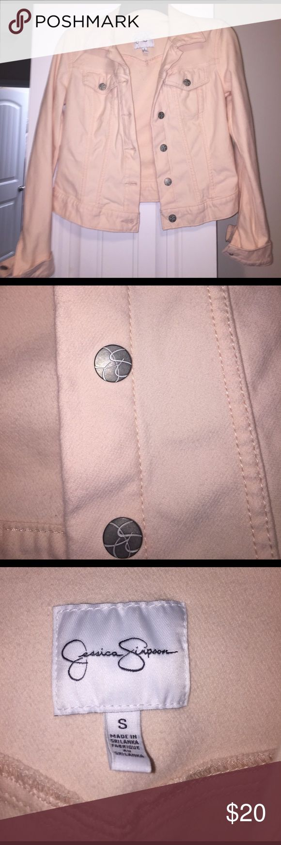 Coral Crop jacket Jessica Simpson Only worn two times, no signs of wear, the picture doesn't do it justice! It's adorable with dresses! Great color! Jessica Simpson Jackets & Coats Jean Jackets