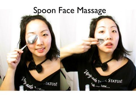 Face Massage: #5 spoon massage (toning, firming, smaller face and face lift) - YouTube