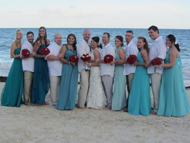 Blue teal ombr bridesmaid dresses beach wedding my for Blue beach wedding dresses
