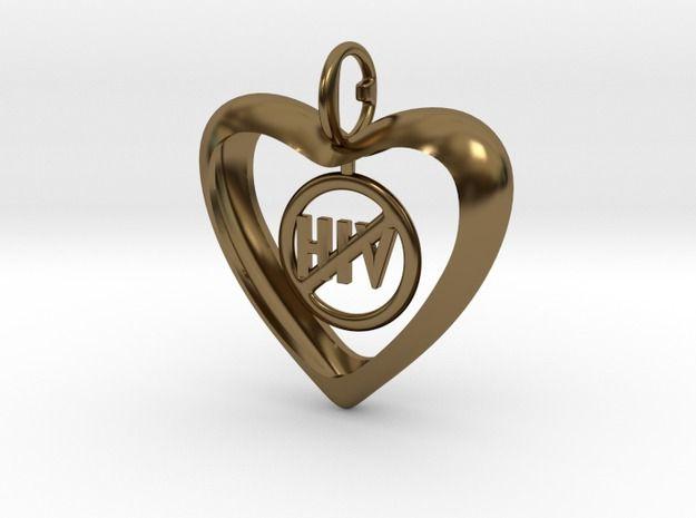 Hjärta mot HIV  #mh14 3d printed Jewelry Pendants Polished Bronze
