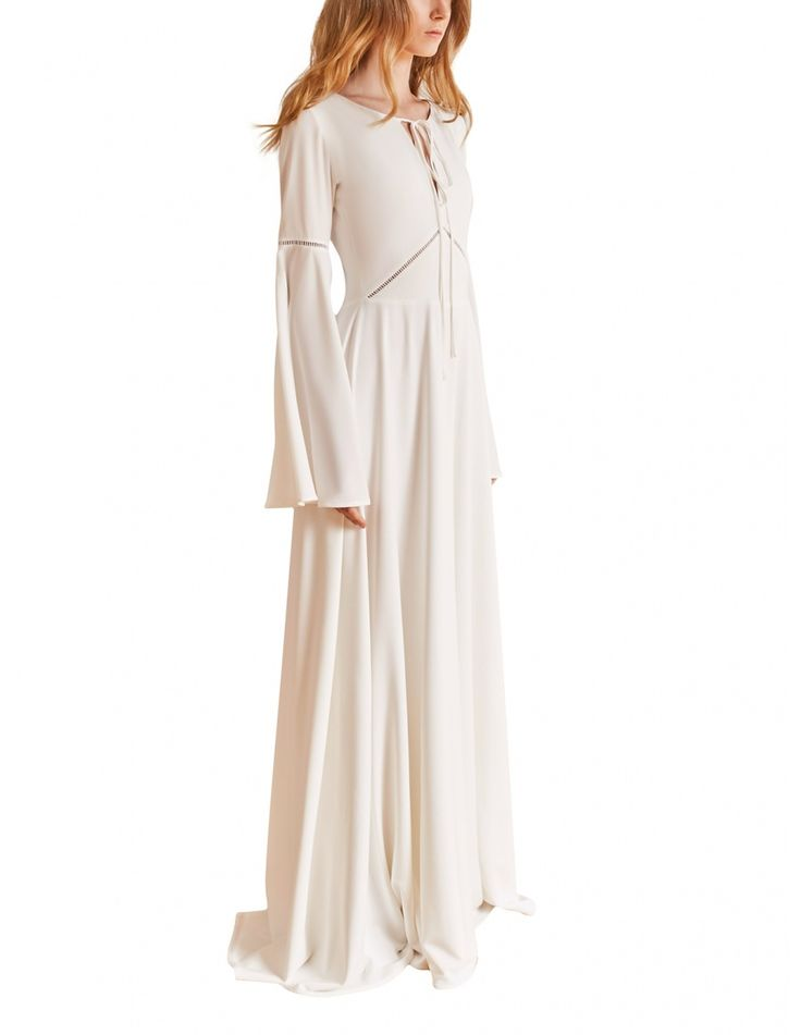 Boho style bridal gown with ladder insert trim on the waist and romantic long flared sleeves. #maisonraquette by Violette and Dana Basoc