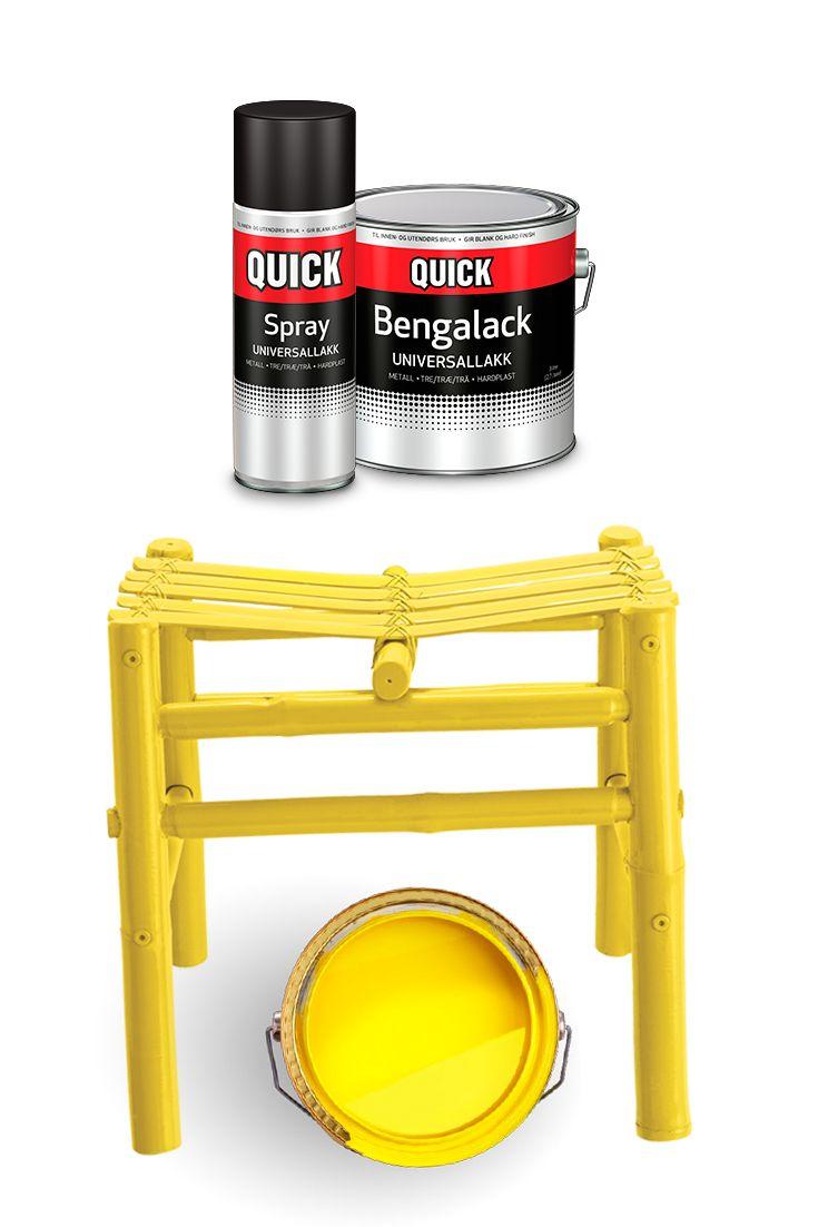 Gult er kult! :)  Bruk sommeren på morsomme hobbyprosjekter og forny gamle gjenstander istedenfor å kaste dem. :) Ville du valgt gult eller en annen farge til denne krakken? #quickbengalack #bengalack #diy #interiør