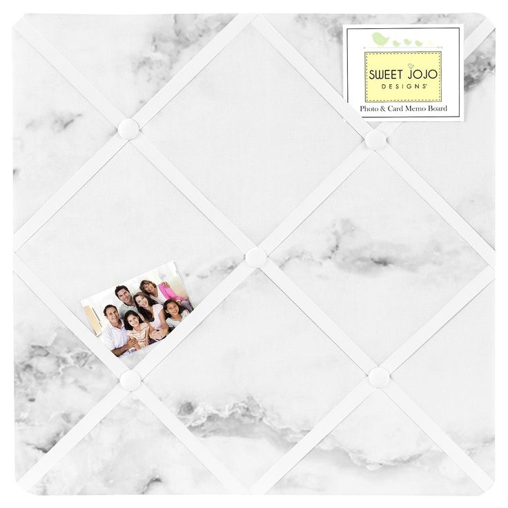 Black and White Marble Fabric Memo Board with button detail will show off postcards, notes and photos. Just slip your mementos behind the ribbon to create an engaging piece of original wall art. These adorable memo boards by Sweet Jojo Designs have been created to coordinate with the matching children's bedding sets. Features: Metal Hangers on back for easy hanging. No Assembly Needed. Dimensions: 14 in. x 14 in. Note: Pushpins cannot be used with this memo board. It is designed with deco...