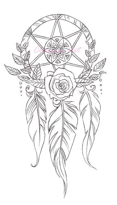 Coloring Page Dreamcatchers by clareandcollie