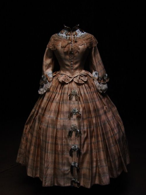day dress, 1860, Love having accents down the front of the skirt.  Sleeves are pretty awesome too.
