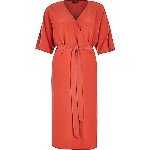 Dark orange belted kimono dress