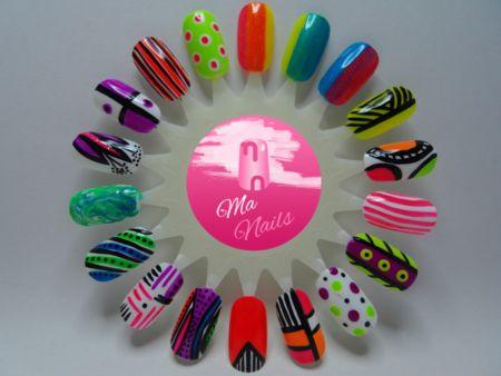 Neon Nail Art Designs #nailart #swatches #colorful - bellashoot.com