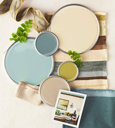 (from top to bottom) Ivoire SW6127 Use it both on walls and for draperies to create a soothing, seamless background. Underseas SW6214 A moody blue adds intrigue. Try it as a feature wall or match to furniture. Hazel SW6471 A change-up to the usual white ceiling or as a secondary accent color, this soft blue delivers a subtle punch. Antiquity SW6402 Use this olive-y green in tiny dabs. Macadamia SW6142 This midrange neutral is a solid choice for upholstered pieces.