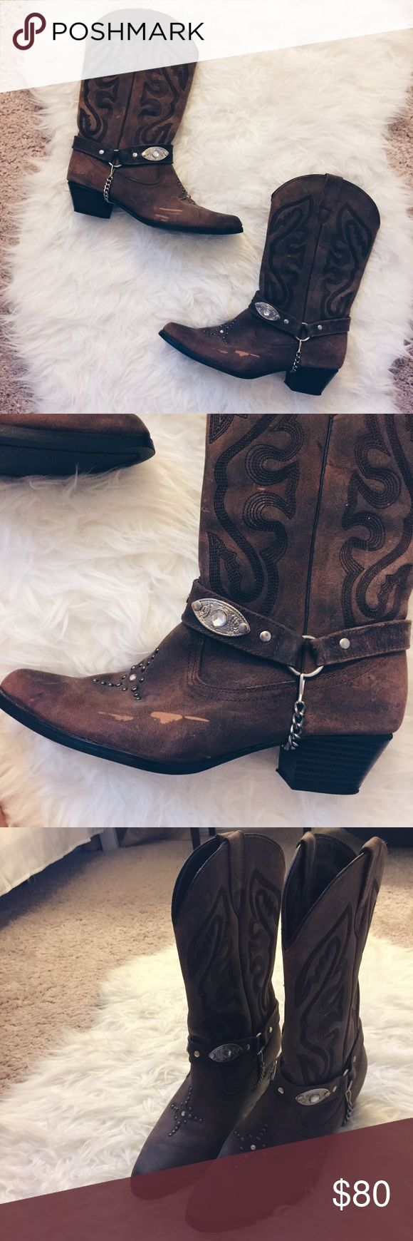 Brown Leather Cowgirl Boots - Size 8 Brown leather cowgirl boots with studs and chains. I bought these in Nashville and have only worn them once! They are in GREAT condition. There are minor scuffs on the leather (pics included.) ✨Fast shipper✨15% off 3+ items✨ Oak Tree Farms Shoes Heeled Boots