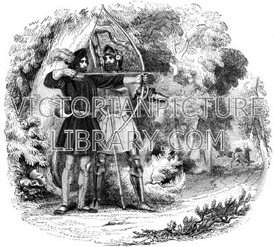 Robin Hood. Victorian picture showing Robin Hood and Little John in Sherwood Forest. Robin wears doublet and hose and a plumed hat and is shooting at deer with his bow; Little John wears a suit of plate armour and carries a halberd. Download high quality jpeg for just £5. Perfect for framing, logos, letterheads, and greetings cards.
