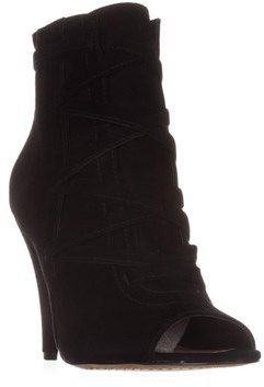 Vince Camuto Aranda Peep Toe Ankle Boots, Black.