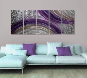 Abstract Purple and Silver Modern Metal Wall Art Painting Decor - Winter Solstice by Jon Allen - 6Consider using purple wall art if you want to make any room in your home look unique, trendy and modern.  In fact you can get all kinds of purple home décor ideas by finding a few pieces of charming and cool purple decorative accents.  Combine these with purple metal wall art to create a fun purple home decoration theme.4