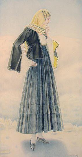 NICOLAS SPERLING Peasant Woman's Dress (Euboea, Kymi) 1930 lithograph on paper after original watercolour 37x20).