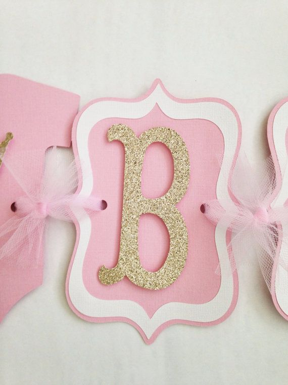 Princess Baby Shower Banner Pink and Gold Banner by AllDiaperCakes