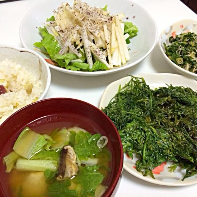野菜がいっぱい届いたので色々と試しながら作ってみました♪ - 4件のもぐもぐ - 山東菜と里芋のお味噌、葉人参の天ぷら、葉大根とじゃこのふりかけ、大根サラダ、安納芋ご飯 by akarizumu