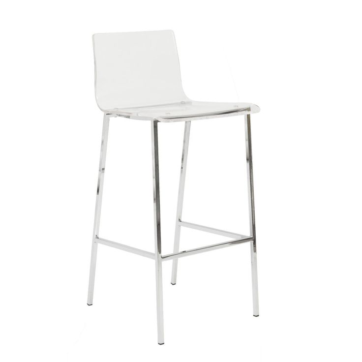 Chloe Bar Stool in Clear with Chrome Legs - Set of 2