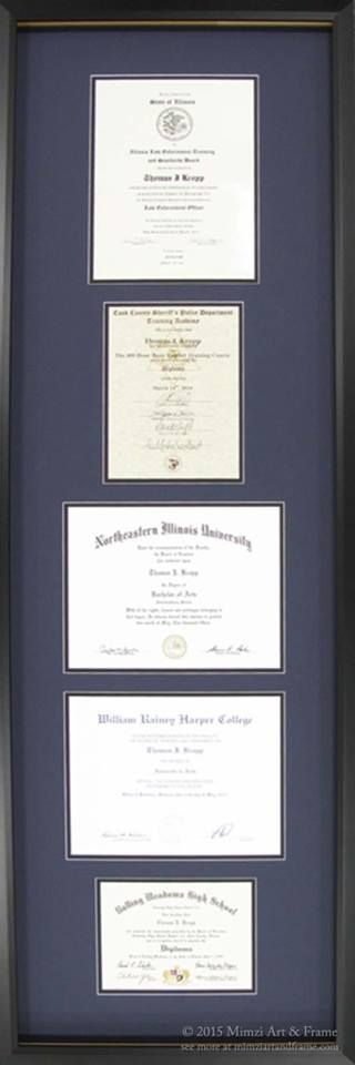 forget trying to find wall space for many different framed diplomas and certificates having them all custom framed together may be