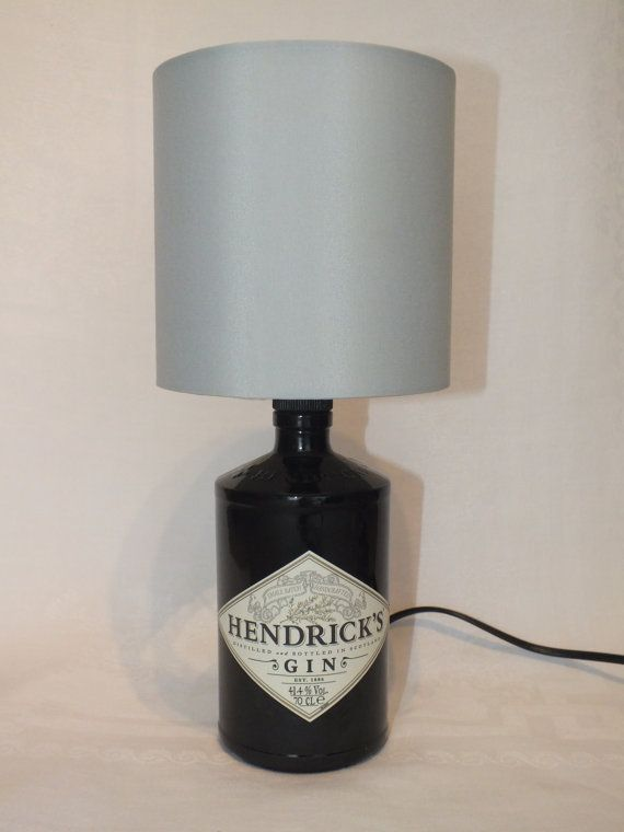 Cool Hendricks Gin Bottle (upcycled) Table Lamp  with choice of Lamp Shade - UK Electrical Plug with on/off switch.